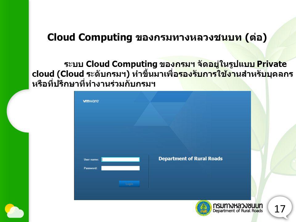 17 ระบบ Cloud Computing ของกรมฯ จัดอยู่ในรูปแบบ Private cloud (Cloud ระดับกรมฯ) ทำขึ้นมาเพื่อรองรับการใช้งานสำหรับบุคลกร หรือที่ปรึกษาที่ทำงานร่วมกับกรมฯ Cloud Computing ของกรมทางหลวงชนบท (ต่อ)