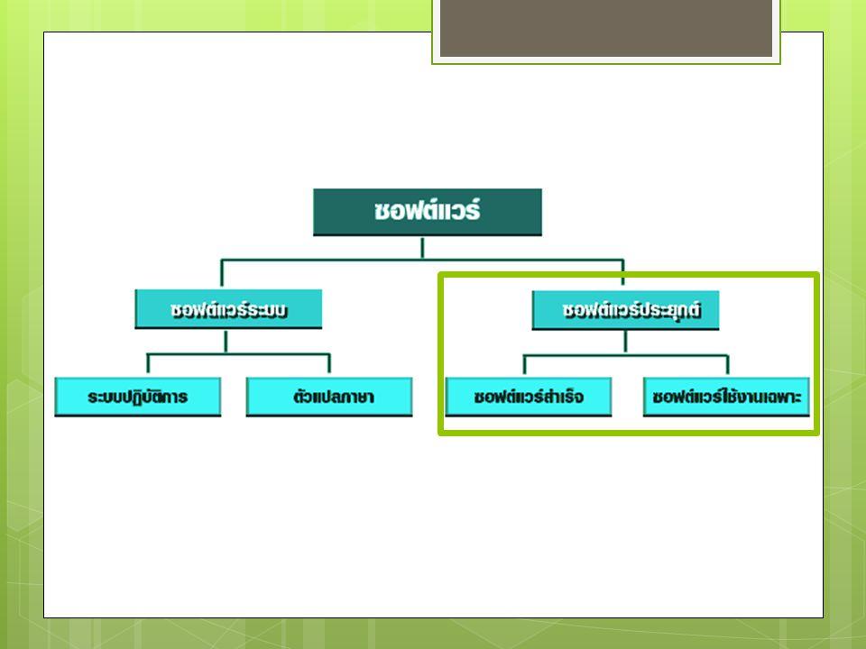 ซอฟต์แวร์ใช้งานเฉพาะ  เป็นซอฟต์แวร์ที่ผู้พัฒนาต้อง เข้าไปศึกษารูปแบบการทำงาน หรือความต้องการของธุรกิจนั้น ๆ แล้วจัดทำขึ้น เช่น ระบบงาน ทางด้านบัญชี ระบบงานจัด จำหน่าย ระบบงานในโรงงาน อุตสาหกรรม
