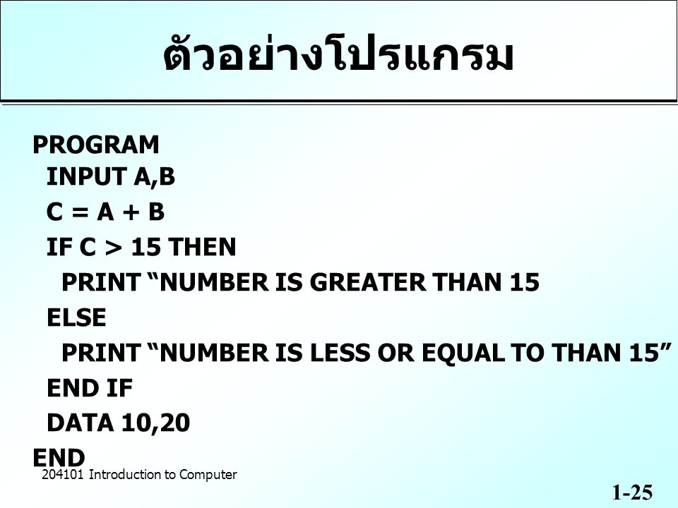1-25 204101 Introduction to Computer ตัวอย่างโปรแกรม PROGRAM INPUT A,B C = A + B IF C > 15 THEN PRINT NUMBER IS GREATER THAN 15 ELSE PRINT NUMBER IS LESS OR EQUAL TO THAN 15 END IF DATA 10,20 END