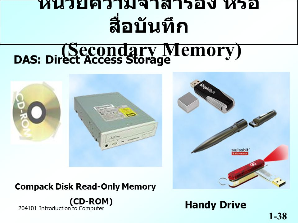 1-38 204101 Introduction to Computer Compack Disk Read-Only Memory (CD-ROM) Handy Drive DAS: Direct Access Storage หน่วยความจำสำรอง หรือ สื่อบันทึก (Secondary Memory)