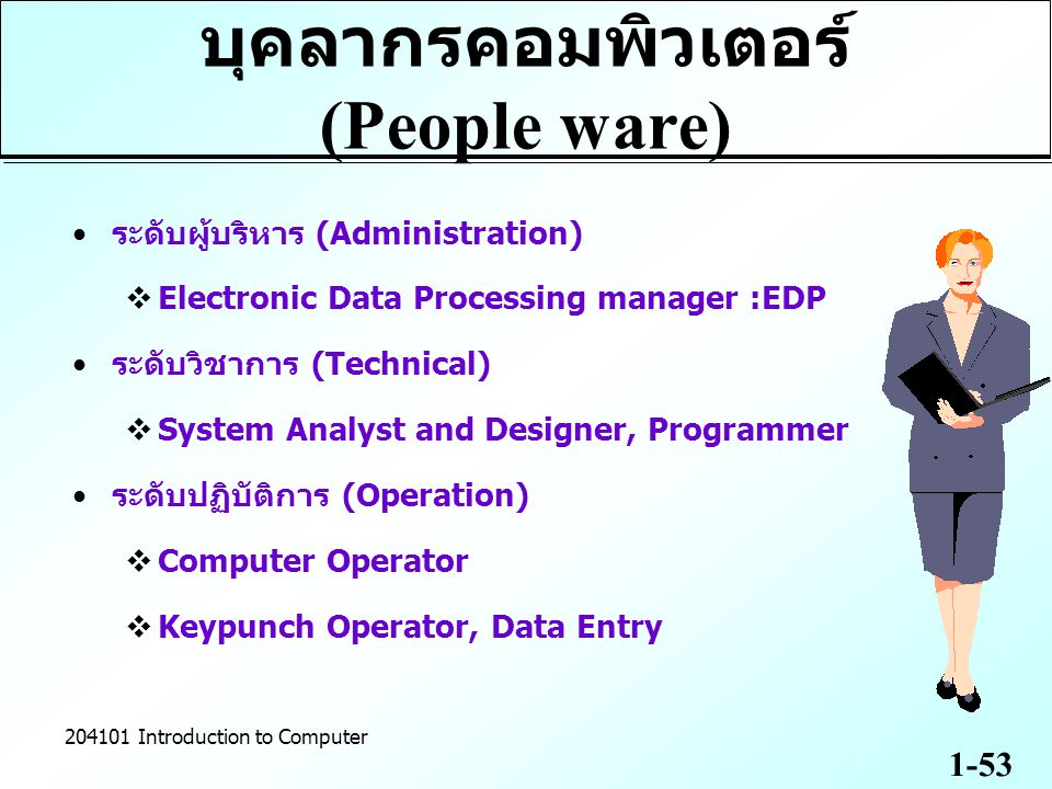 1-53 204101 Introduction to Computer บุคลากรคอมพิวเตอร์ (People ware) ระดับผู้บริหาร (Administration)  Electronic Data Processing manager :EDP ระดับว