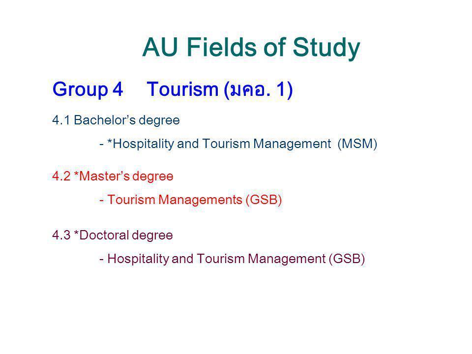 AU Fields of Study Group 4Tourism (มคอ. 1) 4.1 Bachelor's degree - *Hospitality and Tourism Management (MSM) 4.2 *Master's degree - Tourism Management