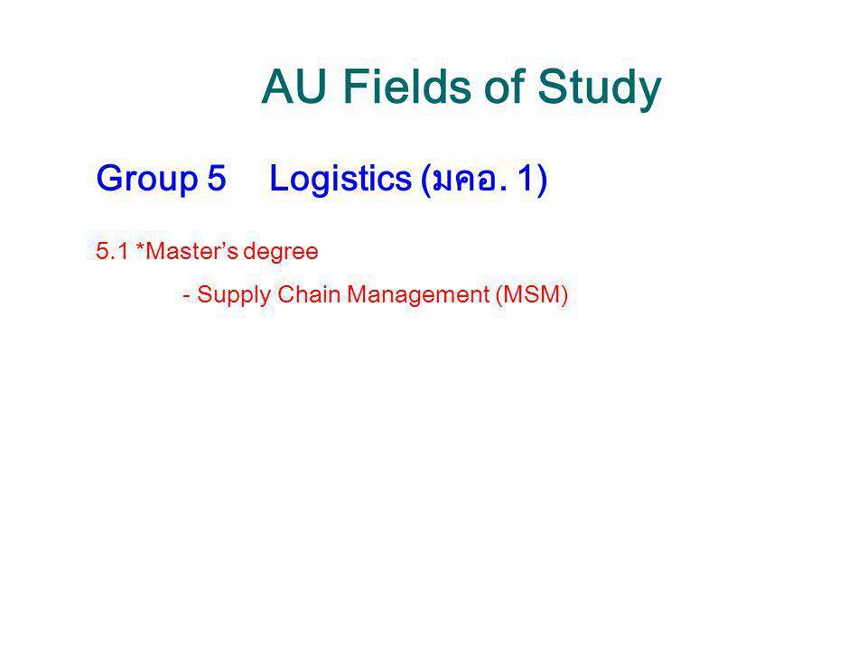 AU Fields of Study Group 5Logistics (มคอ. 1) 5.1 *Master's degree - Supply Chain Management (MSM)
