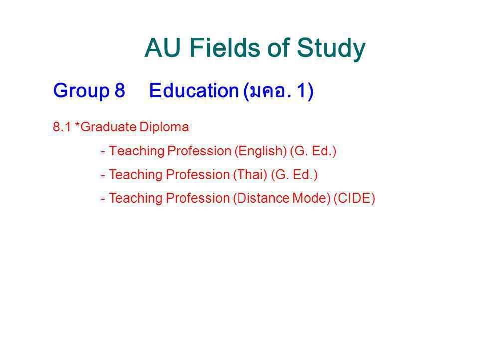 AU Fields of Study Group 8Education (มคอ. 1) 8.1 *Graduate Diploma - Teaching Profession (English) (G. Ed.) - Teaching Profession (Thai) (G. Ed.) - Te