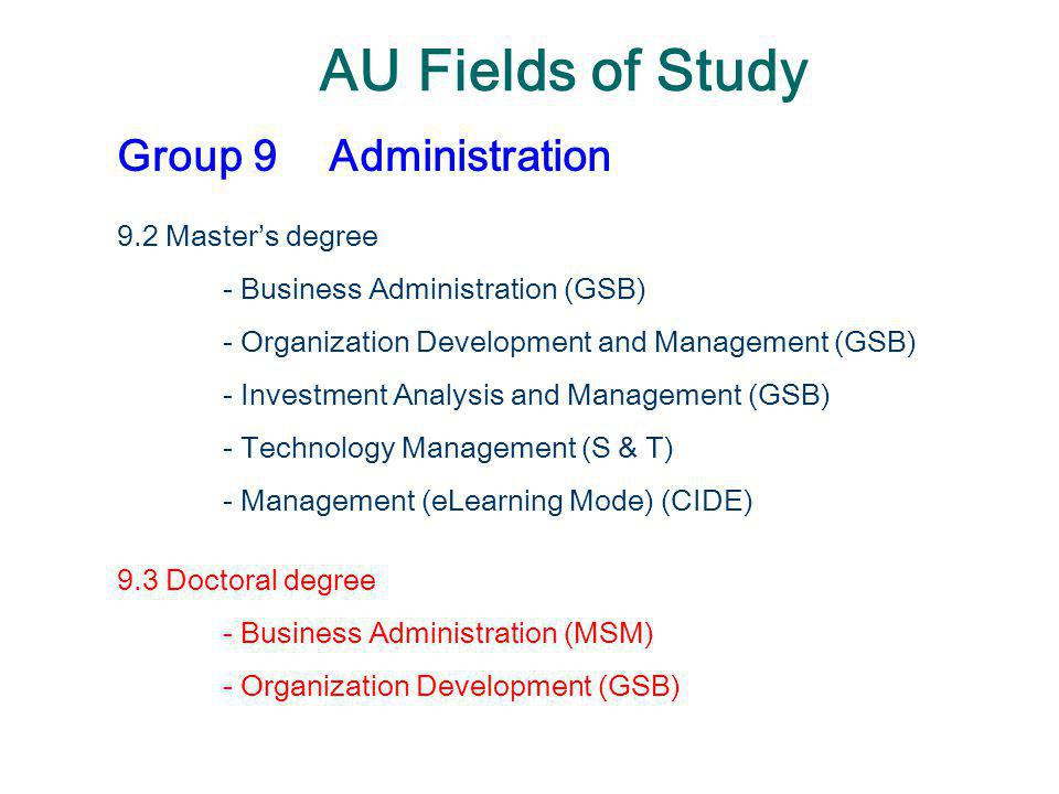 AU Fields of Study Group 9Administration 9.2 Master's degree - Business Administration (GSB) - Organization Development and Management (GSB) - Investm