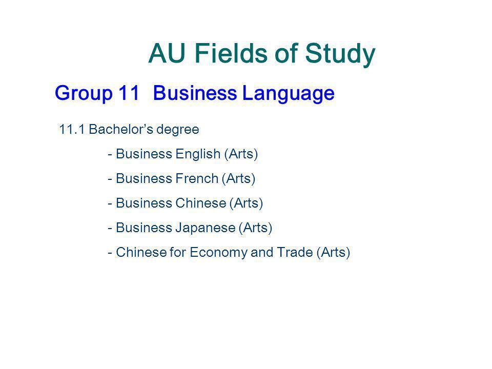 AU Fields of Study Group 11Business Language 11.1 Bachelor's degree - Business English (Arts) - Business French (Arts) - Business Chinese (Arts) - Bus
