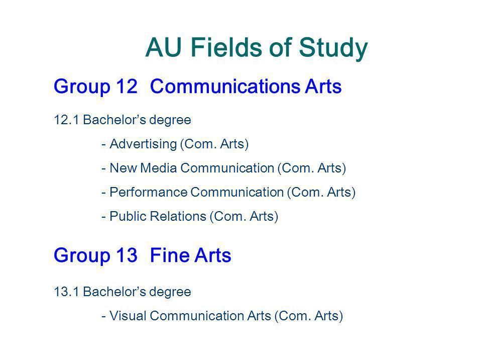 AU Fields of Study Group 12Communications Arts 12.1 Bachelor's degree - Advertising (Com. Arts) - New Media Communication (Com. Arts) - Performance Co