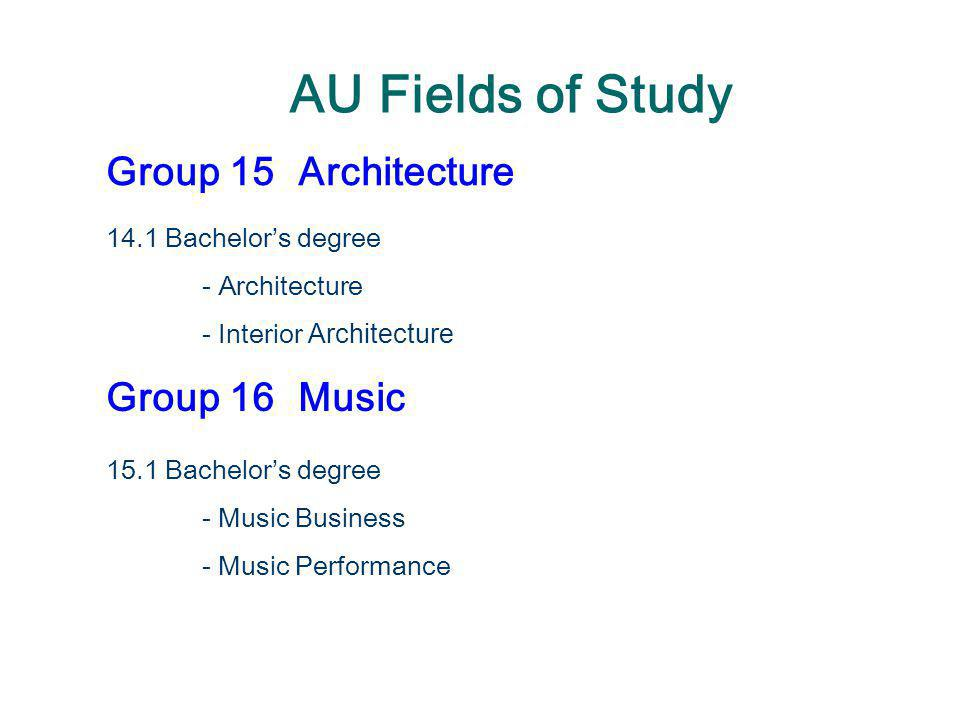 AU Fields of Study Group 15Architecture 14.1 Bachelor's degree - Architecture - Interior Architecture Group 16Music 15.1 Bachelor's degree - Music Bus