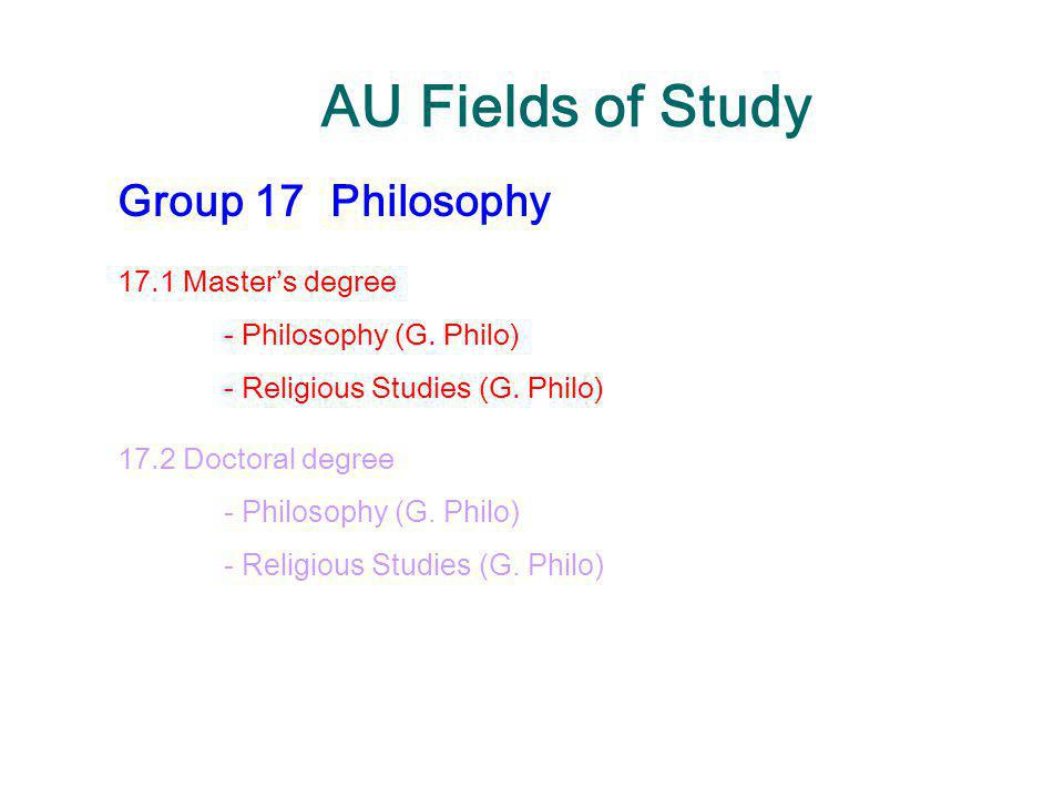 AU Fields of Study Group 17Philosophy 17.1 Master's degree - Philosophy (G. Philo) - Religious Studies (G. Philo) 17.2 Doctoral degree - Philosophy (G