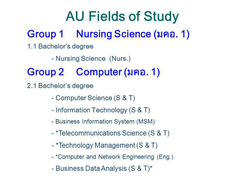 AU Fields of Study Group 2Computer 2.2 *Master's degree - Computer Science (S & T) - Information Technology (S & T) - Telecommunications Science (S & T) - Information Science (GSB) - eLearning Methodology (CIDE) - Information and Communication Technology (CIDE)