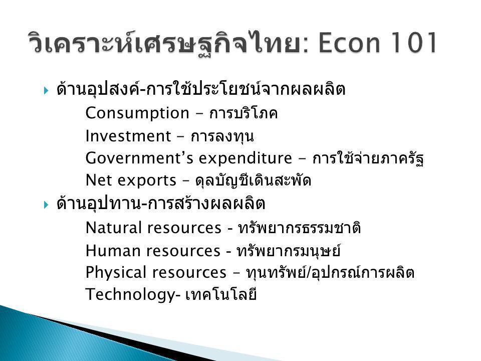  ด้านอุปสงค์ - การใช้ประโยชน์จากผลผลิต Consumption - การบริโภค Investment - การลงทุน Government's expenditure - การใช้จ่ายภาครัฐ Net exports – ดุลบัญ