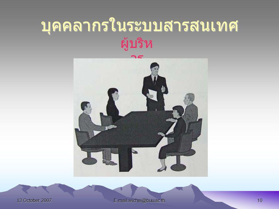13 October 2007E-mail:wichai@buu.ac.th10 บุคคลากรในระบบสารสนเทศ ผู้บริห าร