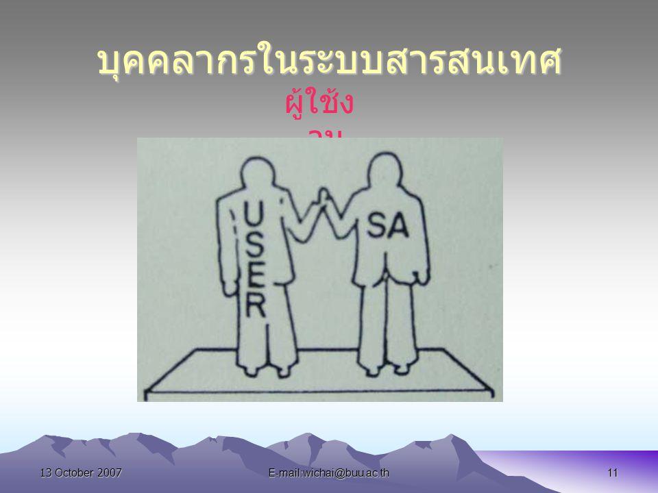 13 October 2007E-mail:wichai@buu.ac.th11 บุคคลากรในระบบสารสนเทศ ผู้ใช้ง าน