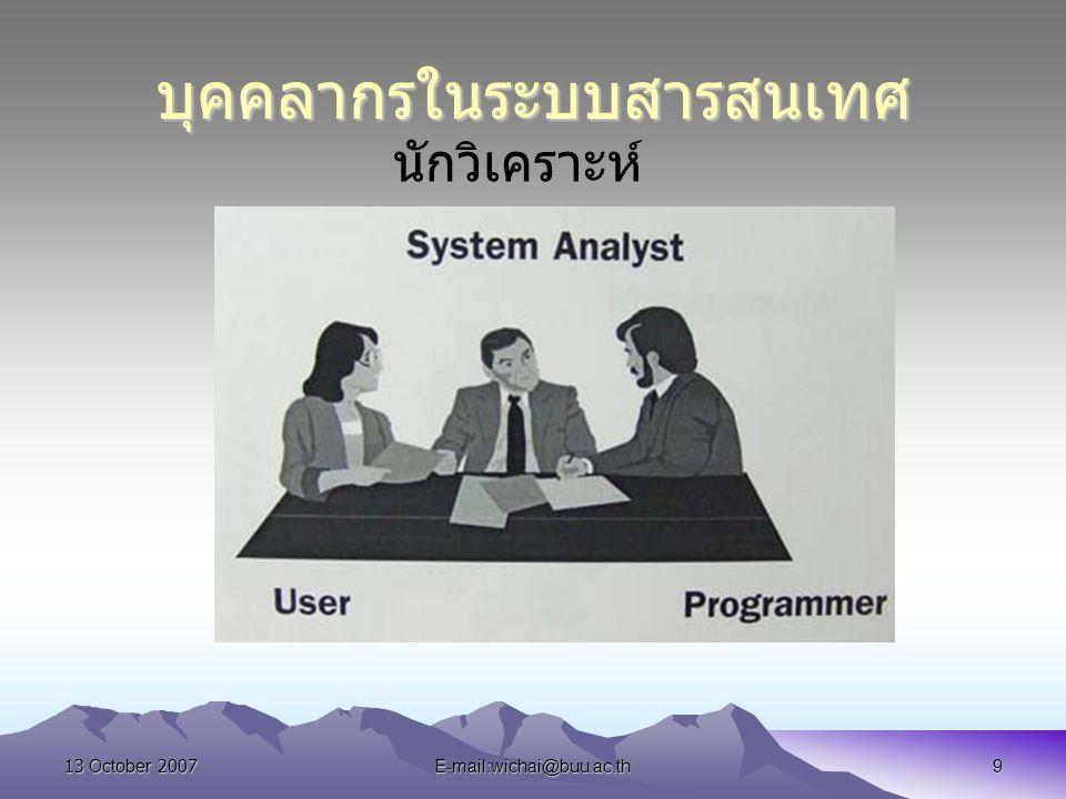13 October 2007E-mail:wichai@buu.ac.th9 บุคคลากรในระบบสารสนเทศ นักวิเคราะห์ ระบบ