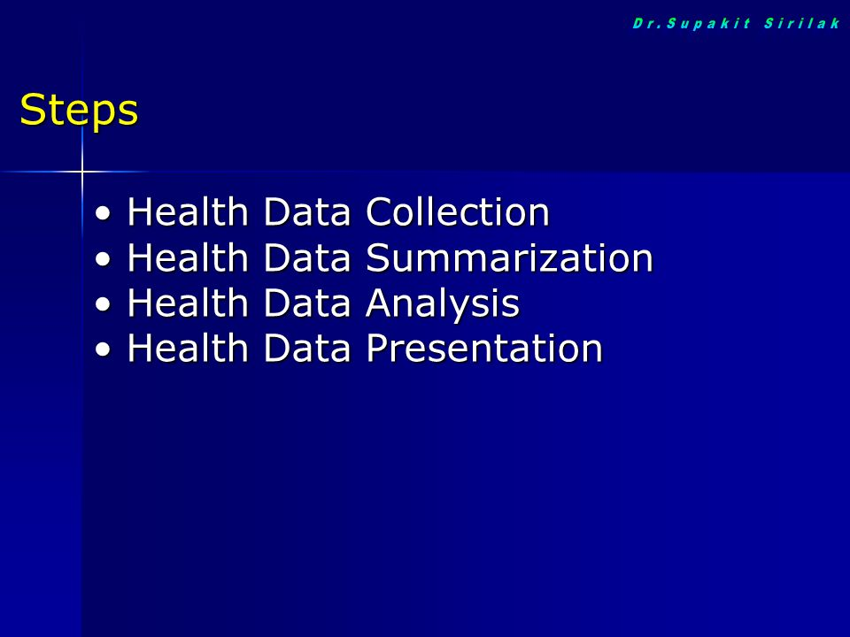 Health Data Collection Health Data Collection Health Data Summarization Health Data Summarization Health Data Analysis Health Data Analysis Health Dat
