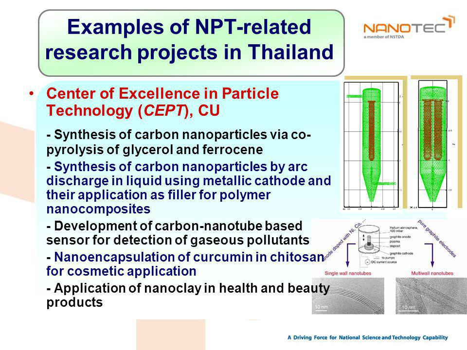 Examples of NPT-related research projects in Thailand Center of Excellence in Particle Technology (CEPT), CU - Synthesis of carbon nanoparticles via co- pyrolysis of glycerol and ferrocene - Synthesis of carbon nanoparticles by arc discharge in liquid using metallic cathode and their application as filler for polymer nanocomposites - Development of carbon-nanotube based sensor for detection of gaseous pollutants - Nanoencapsulation of curcumin in chitosan for cosmetic application - Application of nanoclay in health and beauty products