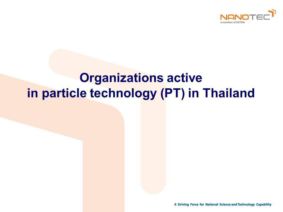 Organizations active in particle technology (PT) in Thailand