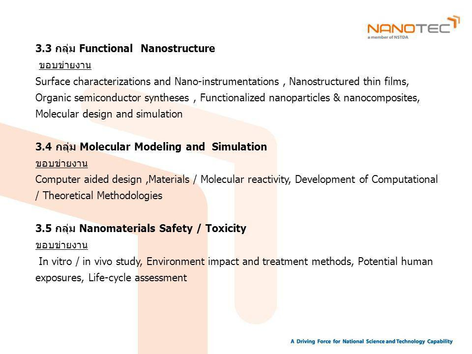 3.3 กลุ่ม Functional Nanostructure ขอบข่ายงาน Surface characterizations and Nano-instrumentations, Nanostructured thin films, Organic semiconductor syntheses, Functionalized nanoparticles & nanocomposites, Molecular design and simulation 3.4 กลุ่ม Molecular Modeling and Simulation ขอบข่ายงาน Computer aided design,Materials / Molecular reactivity, Development of Computational / Theoretical Methodologies 3.5 กลุ่ม Nanomaterials Safety / Toxicity ขอบข่ายงาน In vitro / in vivo study, Environment impact and treatment methods, Potential human exposures, Life-cycle assessment