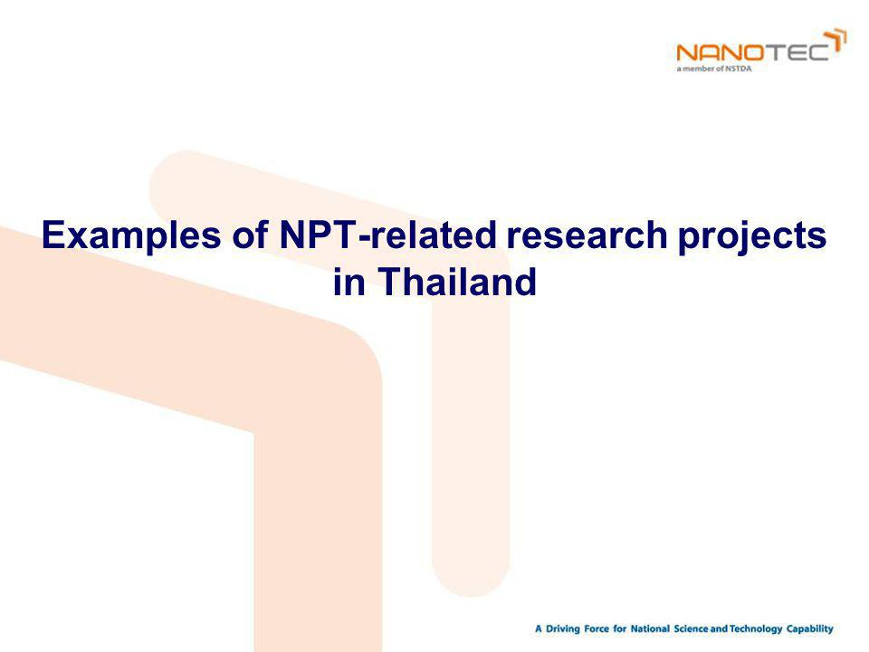 Examples of NPT-related research projects in Thailand
