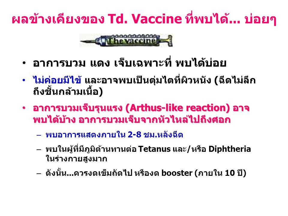 อาการบวม แดง เจ็บเฉพาะที่ พบได้บ่อย ไม่ค่อยมีไข้ และอาจพบเป็นตุ่มไตที่ผิวหนัง (ฉีดไม่ลึก ถึงชั้นกล้ามเนื้อ) อาการบวมเจ็บรุนแรง (Arthus-like reaction)