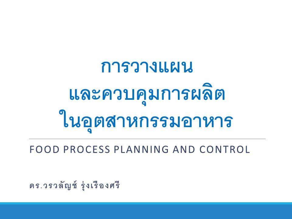 การวางแผน และควบคุมการผลิต ในอุตสาหกรรมอาหาร FOOD PROCESS PLANNING AND CONTROL ดร. วรวลัญช์ รุ่งเรืองศรี