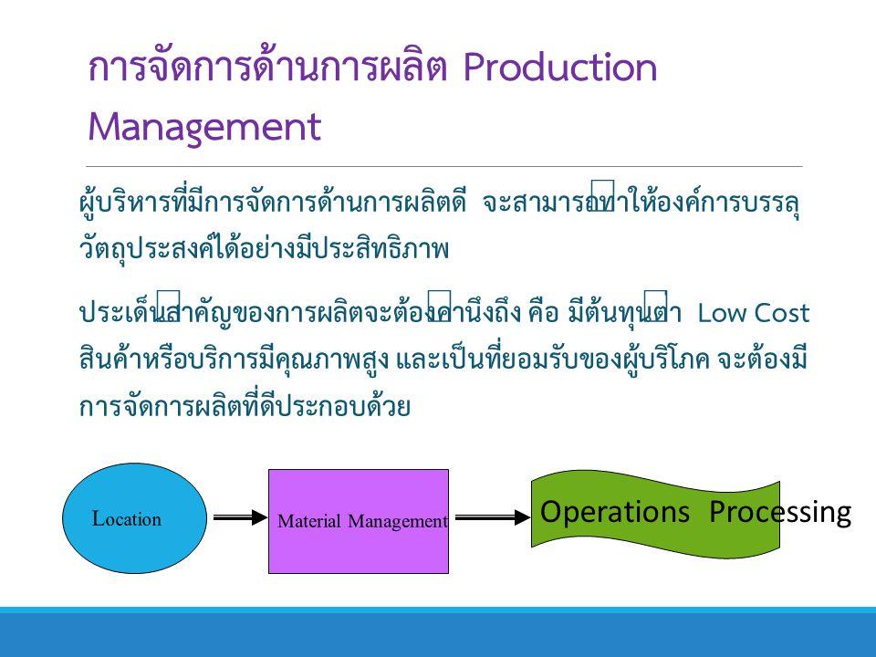 การจัดการด้านการผลิต Production Management ผู้บริหารที่มีการจัดการด้านการผลิตดี จะสามารถทำให้องค์การบรรลุ วัตถุประสงค์ได้อย่างมีประสิทธิภาพ ประเด็นสำค