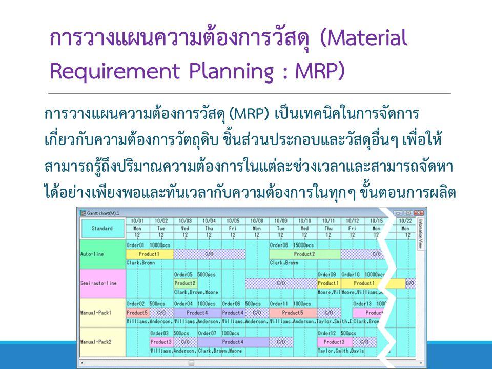 การวางแผนความต้องการวัสดุ (Material Requirement Planning : MRP) การวางแผนความต้องการวัสดุ (MRP) เป็นเทคนิคในการจัดการ เกี่ยวกับความต้องการวัตถุดิบ ชิ้