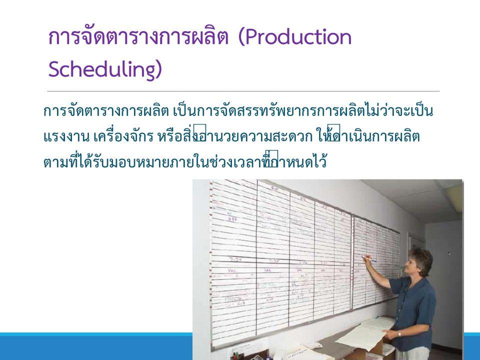 การจัดตารางการผลิต (Production Scheduling) การจัดตารางการผลิต เป็นการจัดสรรทรัพยากรการผลิตไม่ว่าจะเป็น แรงงาน เครื่องจักร หรือสิ่งอำนวยความสะดวก ให้ดำ