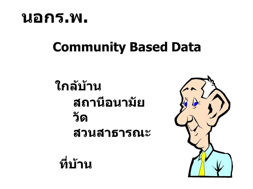 นอกร.พ. Community Based Data ใกล้บ้าน ที่บ้าน สถานีอนามัย วัด สวนสาธารณะ