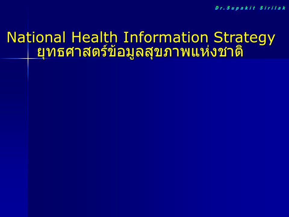 National Health Information Strategy ยุทธศาสตร์ข้อมูลสุขภาพแห่งชาติ