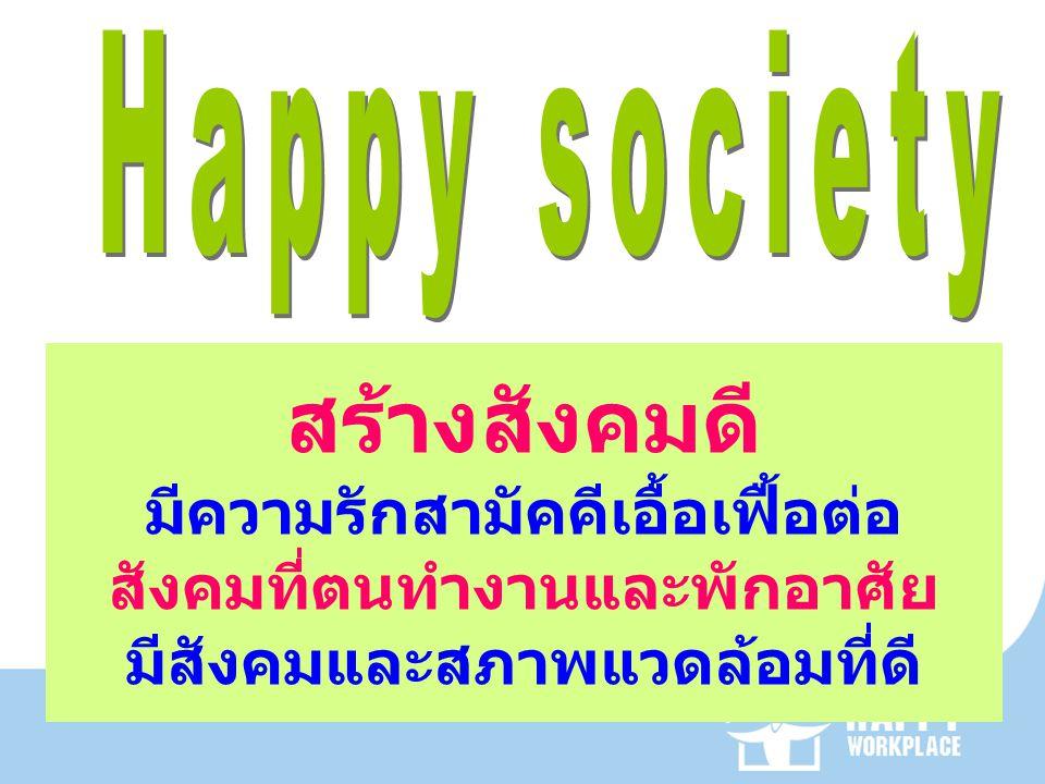 สร้างสังคมดี มีความรักสามัคคีเอื้อเฟื้อต่อ สังคมที่ตนทำงานและพักอาศัย มีสังคมและสภาพแวดล้อมที่ดี