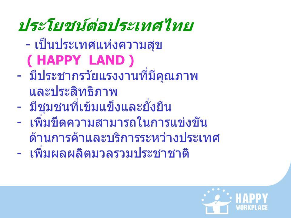 ประโยชน์ต่อประเทศไทย - เป็นประเทศแห่งความสุข ( HAPPY LAND ) - มีประชากรวัยแรงงานที่มีคุณภาพ และประสิทธิภาพ - มีชุมชนที่เข้มแข็งและยั่งยืน - เพิ่มขีดคว