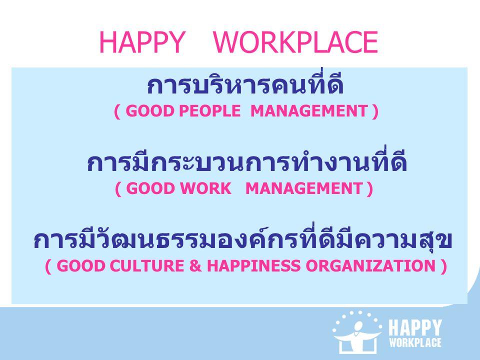HAPPY WORKPLACE การบริหารคนที่ดี ( GOOD PEOPLE MANAGEMENT ) การมีกระบวนการทำงานที่ดี ( GOOD WORK MANAGEMENT ) การมีวัฒนธรรมองค์กรที่ดีมีความสุข ( GOOD