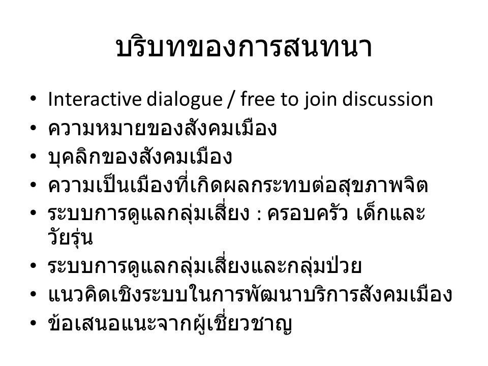 บริบทของการสนทนา Interactive dialogue / free to join discussion ความหมายของสังคมเมือง บุคลิกของสังคมเมือง ความเป็นเมืองที่เกิดผลกระทบต่อสุขภาพจิต ระบบการดูแลกลุ่มเสี่ยง : ครอบครัว เด็กและ วัยรุ่น ระบบการดูแลกลุ่มเสี่ยงและกลุ่มป่วย แนวคิดเชิงระบบในการพัฒนาบริการสังคมเมือง ข้อเสนอแนะจากผู้เชี่ยวชาญ