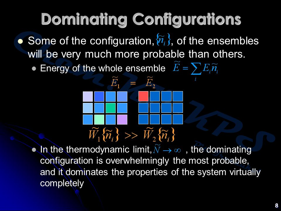 Chem:KU-KPS Piti Treesukol 9 The weight of a configuration is The configuration of greatest weight, subject to the total energy and composition constraints is given by the canonical distribution Canonical Partition Function Canonical Distribution