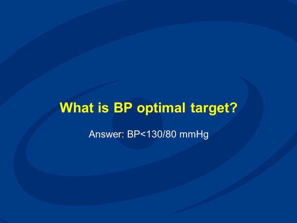 What is BP optimal target? Answer: BP<130/80 mmHg