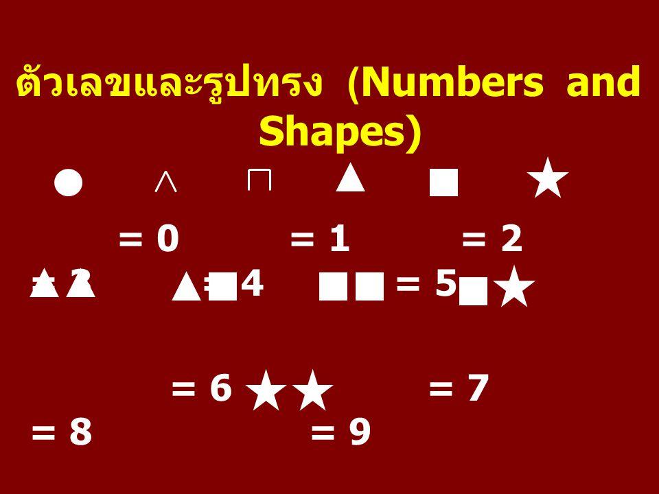 ตัวเลขและรูปทรง (Numbers and Shapes) = 0 = 1 = 2 = 3 = 4 = 5 = 6 = 7 = 8 = 9 = 10