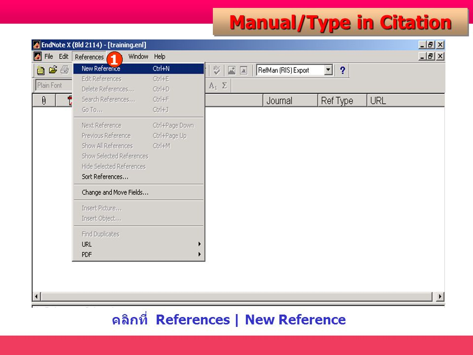 คลิกที่ References | New Reference Manual/Type in Citation 1
