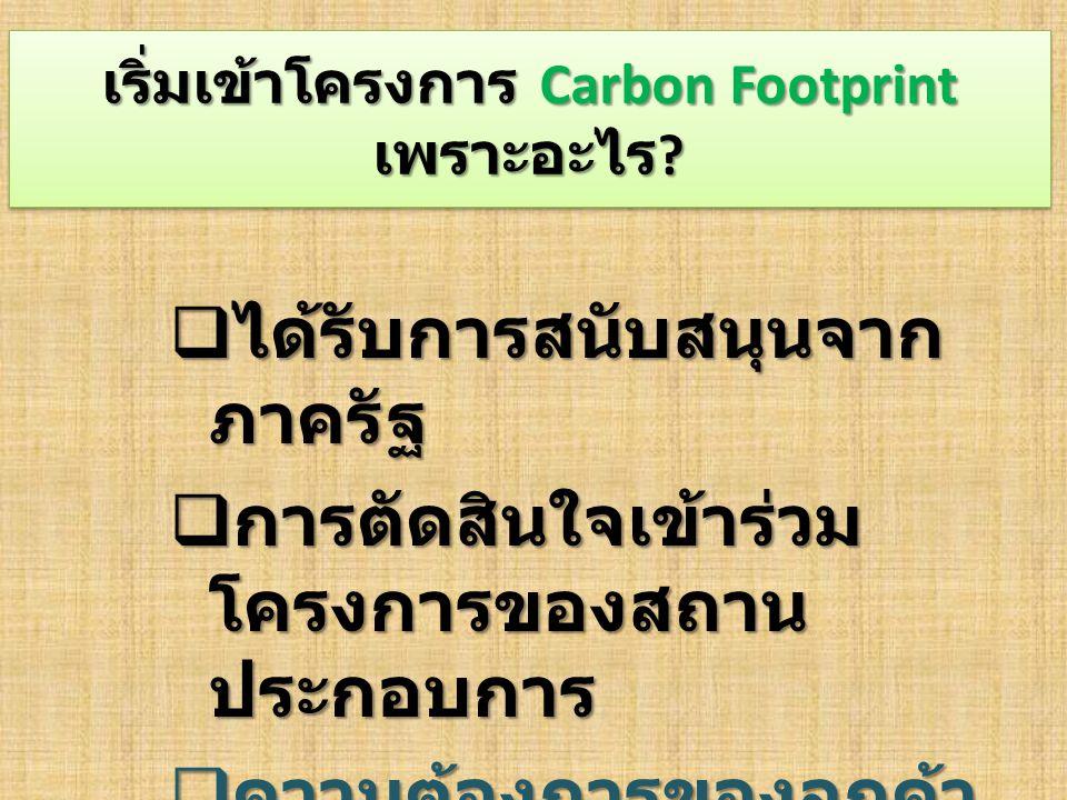 เริ่มเข้าโครงการ Carbon Footprint เพราะอะไร .
