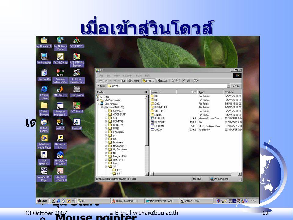 13 October 2007E-mail:wichai@buu.ac.th 19 เมื่อเข้าสู่วินโดวส์เมื่อเข้าสู่วินโดวส์ เดสก์ทอป (Desktop) ต ไอคอน (Icon) ต แถบงาน (Task Bar) ต ปุ่ม Start