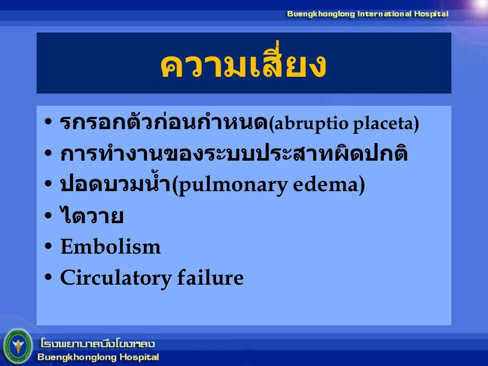 ความเสี่ยง รกรอกตัวก่อนกำหนด (abruptio placeta) การทำงานของระบบประสาทผิดปกติ ปอดบวมน้ำ (pulmonary edema) ไตวาย Embolism Circulatory failure