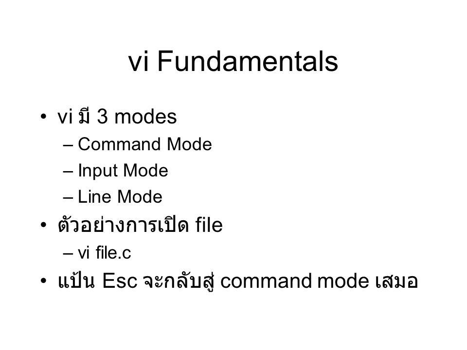 vi Fundamentals vi มี 3 modes –Command Mode –Input Mode –Line Mode ตัวอย่างการเปิด file –vi file.c แป้น Esc จะกลับสู่ command mode เสมอ