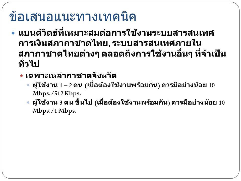 ข้อเสนอแนะทางเทคนิค แบนด์วิดธ์ที่เหมาะสมต่อการใช้งานระบบสารสนเทศ การเงินสภากาชาดไทย, ระบบสารสนเทศภายใน สภากาชาดไทยต่างๆ ตลอดถึงการใช้งานอื่นๆ ที่จำเป็
