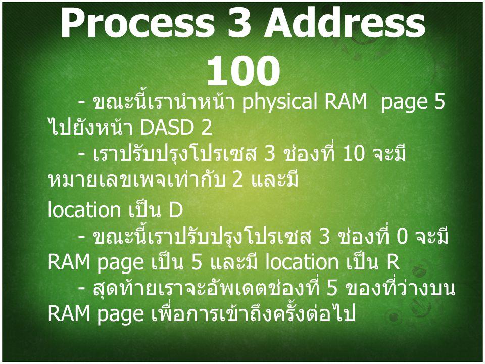 Process 3 Address 100 - ขณะนี้เรานำหน้า physical RAM page 5 ไปยังหน้า DASD 2 - เราปรับปรุงโปรเซส 3 ช่องที่ 10 จะมี หมายเลขเพจเท่ากับ 2 และมี location เป็น D - ขณะนี้เราปรับปรุงโปรเซส 3 ช่องที่ 0 จะมี RAM page เป็น 5 และมี location เป็น R - สุดท้ายเราจะอัพเดตช่องที่ 5 ของที่ว่างบน RAM page เพื่อการเข้าถึงครั้งต่อไป