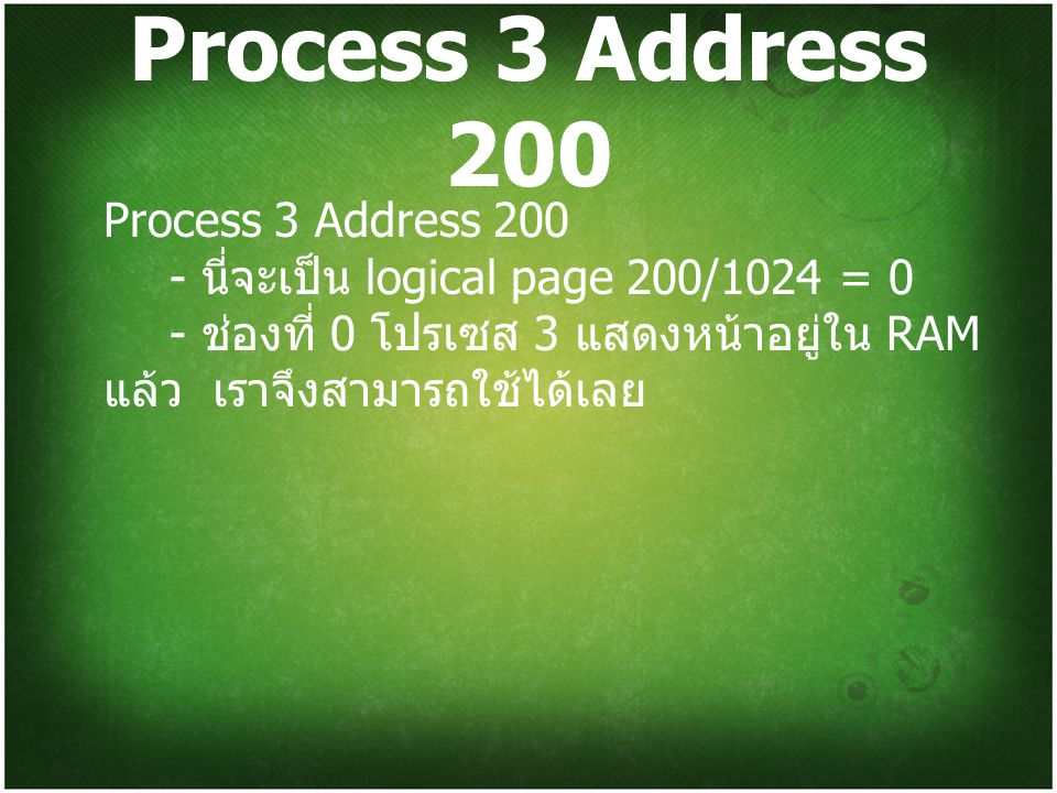Process 3 Address 200 Process 3 Address 200 - นี่จะเป็น logical page 200/1024 = 0 - ช่องที่ 0 โปรเซส 3 แสดงหน้าอยู่ใน RAM แล้ว เราจึงสามารถใช้ได้เลย