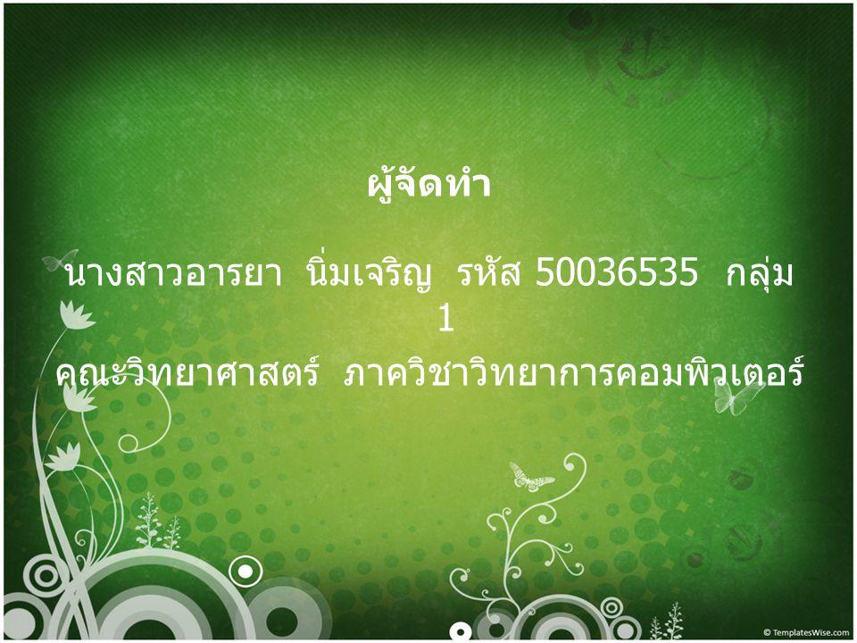 ผู้จัดทำ นางสาวอารยา นิ่มเจริญ รหัส 50036535 กลุ่ม 1 คณะวิทยาศาสตร์ ภาควิชาวิทยาการคอมพิวเตอร์