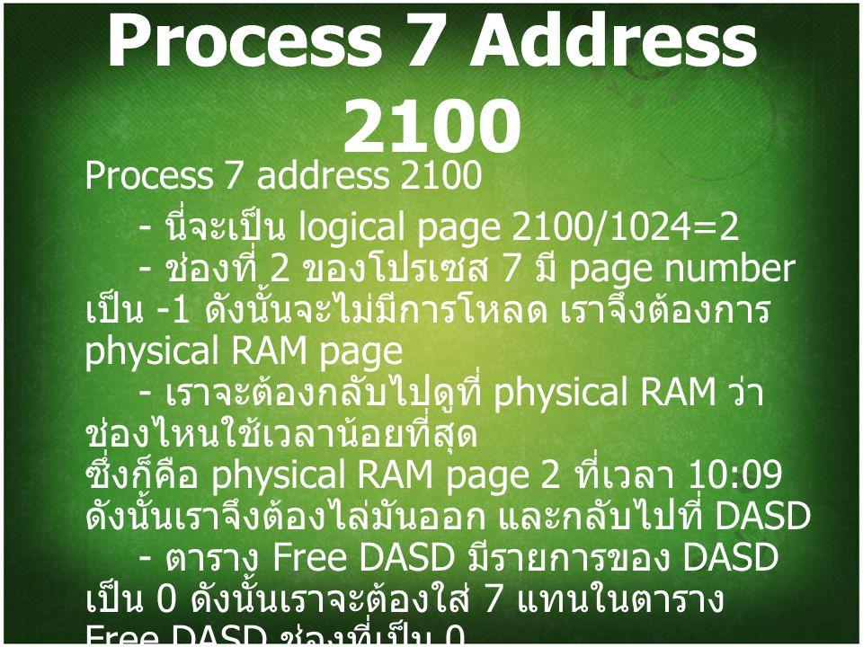 Process 7 Address 2100 Process 7 address 2100 - นี่จะเป็น logical page 2100/1024=2 - ช่องที่ 2 ของโปรเซส 7 มี page number เป็น -1 ดังนั้นจะไม่มีการโหลด เราจึงต้องการ physical RAM page - เราจะต้องกลับไปดูที่ physical RAM ว่า ช่องไหนใช้เวลาน้อยที่สุด ซึ่งก็คือ physical RAM page 2 ที่เวลา 10:09 ดังนั้นเราจึงต้องไล่มันออก และกลับไปที่ DASD - ตาราง Free DASD มีรายการของ DASD เป็น 0 ดังนั้นเราจะต้องใส่ 7 แทนในตาราง Free DASD ช่องที่เป็น 0