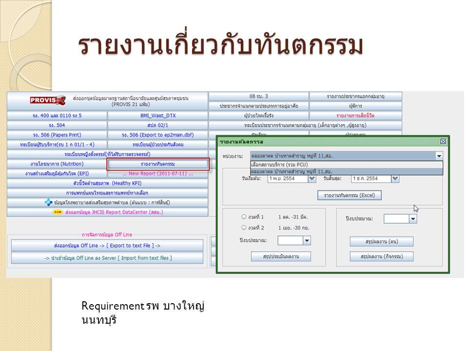 รายงานเกี่ยวกับทันตกรรม Requirement รพ บางใหญ่ นนทบุรี