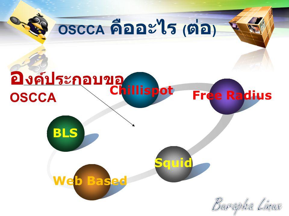 LOGO OSCCA คืออะไร ( ต่อ ) อ งค์ประกอบของ OSCCA Web Based BLS Free Radius Chillispot Squid