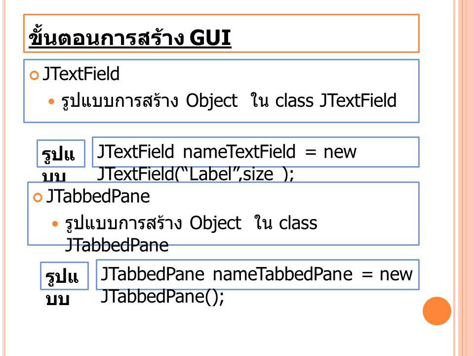 """ขั้นตอนการสร้าง GUI JTextField รูปแบบการสร้าง Object ใน class JTextField JTextField nameTextField = new JTextField(""""Label"""",size ); รูปแ บบ JTabbedPane"""
